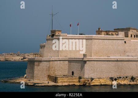 Fort St. Angelo, daytime Il-Birgu , view from Valletta, Malta - Stock Photo