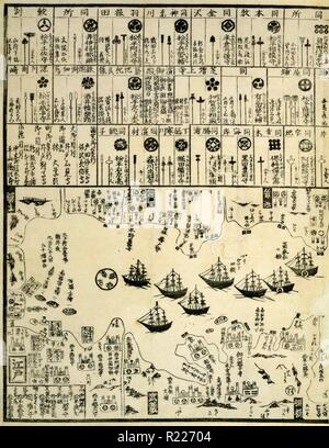 United States of North America: 1860 commodore Perry arrives in Uraga, Soshu Province; Japanese diptych print shows Perry's steamship in bottom right panel; map of the coast of Soshu in left panel; various Japanese coats of arms in upper half of both panels. - Stock Photo