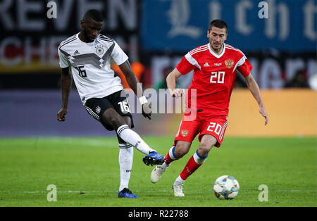 Leipzig, Germany. 15th Nov, 2018. LEIPZIG, GERMANY - NOVEMBER 15, 2018: Germany's Antonio Rudiger (L) and Russia's Alexei Ionov in a football friendly between the national men's football teams of Germany and Russia at Red Bull Arena (Zentralstadion). Sergei Bobylev/TASS Credit: ITAR-TASS News Agency/Alamy Live News - Stock Photo