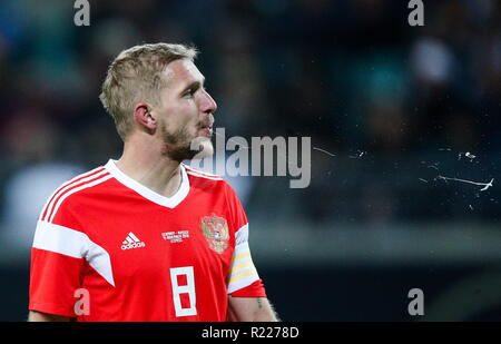 Leipzig, Germany. 15th Nov, 2018. LEIPZIG, GERMANY - NOVEMBER 15, 2018: Russia's Yuri Gazinsky in a football friendly between the national men's football teams of Germany and Russia at Red Bull Arena (Zentralstadion). Sergei Bobylev/TASS Credit: ITAR-TASS News Agency/Alamy Live News - Stock Photo