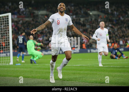 London, UK. 15th Nov, 2018. England's Callum Wilson celebrates his goal during the International Friendly football match between England and the United States at Wembley Stadium in London, Britain on Nov. 15, 2018. England won 3-0. Credit: Tim Ireland/Xinhua/Alamy Live News - Stock Photo