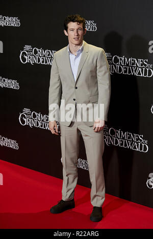 Pozuelo De Alarcon, Madrid, Spain. 15th Nov, 2018. Callum Turner attends to Fantastic Beasts: The Crimes of Grindelwald film premiere during the Madrid Premiere Week at Kinepolis in Pozuelo de Alarcon. Credit: Legan P. Mace/SOPA Images/ZUMA Wire/Alamy Live News - Stock Photo