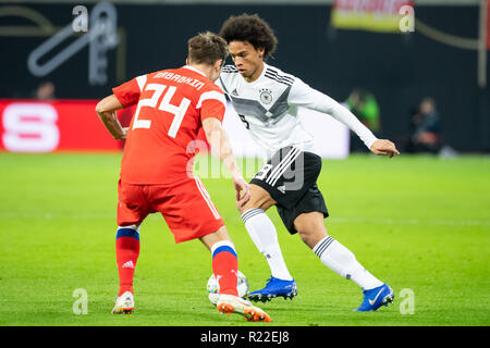Leipzig, Germany. 15th Nov, 2018. Germany's Leroy Sane (R) competes during an international friendly match between Germany and Russia in Leipzig, Germany, Nov. 15, 2018. Germany won 3-0. Credit: Kevin Voigt/Xinhua/Alamy Live News - Stock Photo