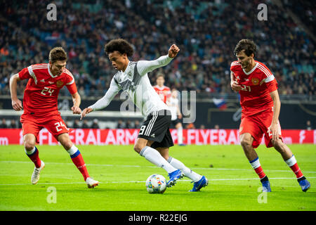 Leipzig, Germany. 15th Nov, 2018. Germany's Leroy Sane (C) competes during an international friendly match between Germany and Russia in Leipzig, Germany, Nov. 15, 2018. Germany won 3-0. Credit: Kevin Voigt/Xinhua/Alamy Live News - Stock Photo