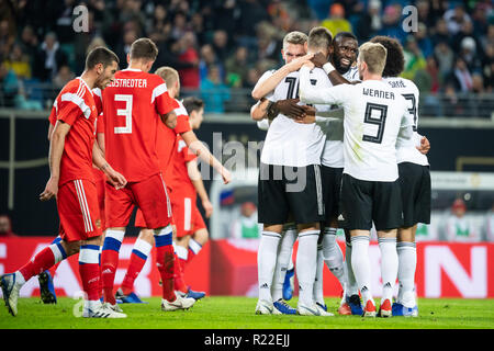 Leipzig, Germany. 15th Nov, 2018. Germany's players (R) celebrate scoring during an international friendly match between Germany and Russia in Leipzig, Germany, Nov. 15, 2018. Germany won 3-0. Credit: Kevin Voigt/Xinhua/Alamy Live News - Stock Photo