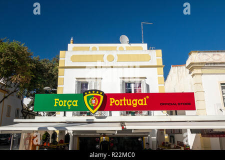 The Sports Store Forca Portugal Football Apperal Retail Shop In Albufeira Old Town Algarve Portugal - Stock Photo