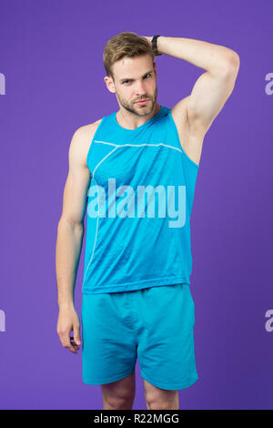 Sportsman after training feel pleasant aroma. Guy check armpit dry skin. Prevent or reduce perspiration. Choose proper antiperspirant or deodorant for training. Man satisfied his antiperspirant. - Stock Photo