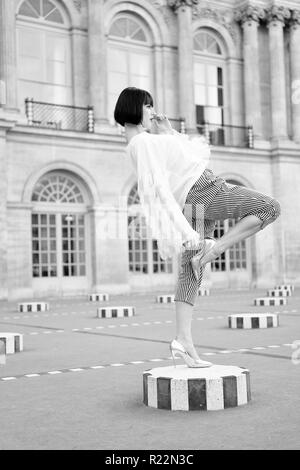 Woman tourist visiting Paris in France outdoor. - Stock Photo
