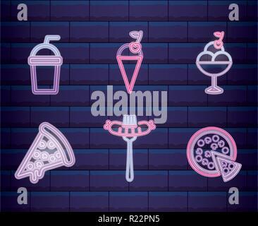 set ice cream shop neon light label vector illustration design - Stock Photo