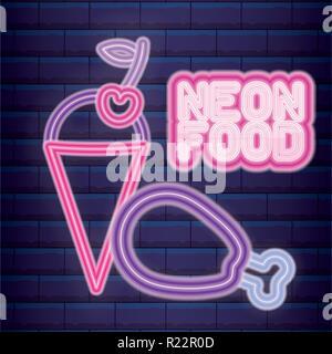fast food neon light label vector illustration design - Stock Photo