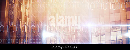 Composite image of blue technology design with binary code - Stock Photo