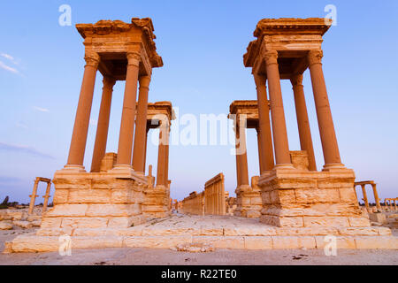 Palmyra, Homs Governorate, Syria - May 26th, 2009 : The Tetrapylon of Palmyra in the colonnaded street. It consisted of a square platform bearing at e - Stock Photo