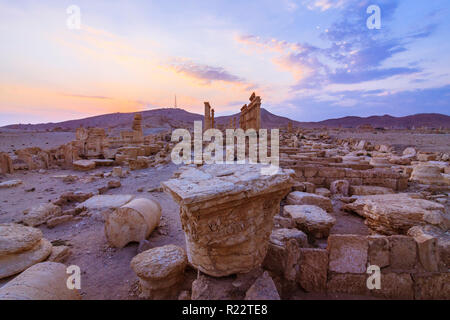 Palmyra, Homs Governorate, Syria - May 26th, 2009 : Great Colonnade of Palmyra at sunset. Built  during the second and third century CE, it stretched  - Stock Photo