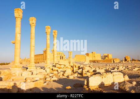Palmyra, Homs Governorate, Syria - May 27th, 2009 :  Great Colonnade of Palmyra. Bel temple in background. - Stock Photo