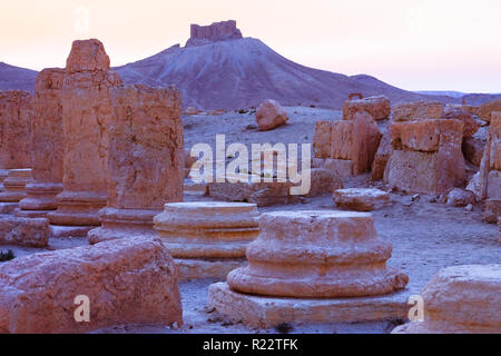 Palmyra, Homs Governorate, Syria - May 27th, 2009 : Ruins of Palmyra at sunset with the 13th century Qalaat Shirkuh citadel also known as Fakhr-al-Din - Stock Photo
