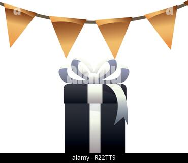 decorative gifts ribbon merry christmas vector illustration - Stock Photo