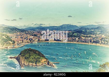 Aerial view to the San Sebastian. - Stock Photo