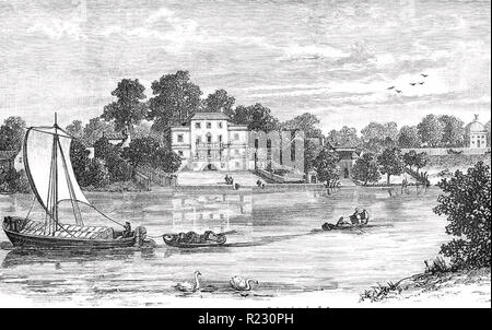 ALEXANDER POPE (1688-1744) English poet. Pope's house at Twickenham showing the arched grotto engraved about 1745. - Stock Photo