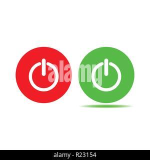 Shutdown icon, power icon, on off sign. Green red button - Stock Photo