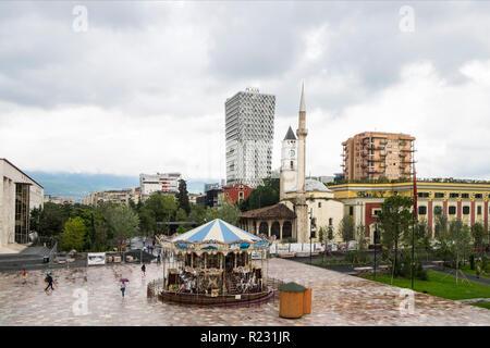 Albania, Tirana, Skanderberg main square, landscape - Stock Photo