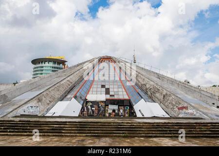 Albania, Tirana, Pyramid, Qendra Nderkombetare and  Kultures Arbnori, International centre of culture. - Stock Photo