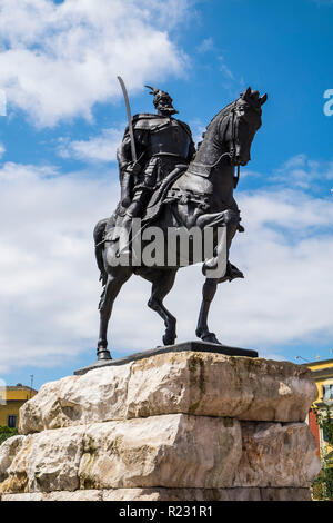 Albania, Tirana, Skanderberg main square, statue of Skanderbeg - Stock Photo
