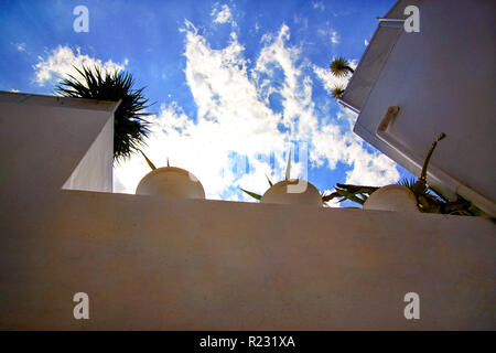 View on white houses roof balcony and blue sky with clouds in medina of hammamet Tunisia on Mediterranean coast, North Africa / Architecture Arabic. - Stock Photo