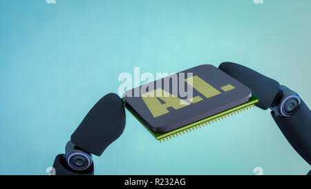 A robot holds an artificial intelligence chip in his hand (3d rendering) - Stock Photo