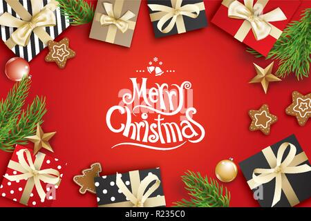 Merry christmas greeting card frame on red background. Vector illustration decoration with fir branches and gift. Use for banner, poster. - Stock Photo