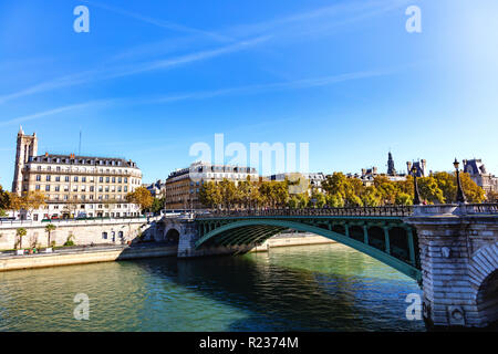France, Paris, October 5, 2018: View on the bridge at the exchange, the Seine, the theater of the city and the tower Saint Jacques - Stock Photo