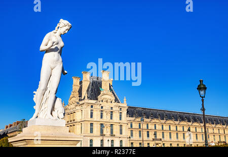 France, Paris, October 5, 2018: View of a statue of nymph and Tuileries - Stock Photo