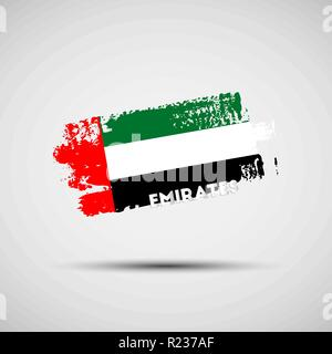 Flag of United Arab Emirates. Vector illustration of grunge brush stroke with UAE national flag colors for your graphic and web design - Stock Photo