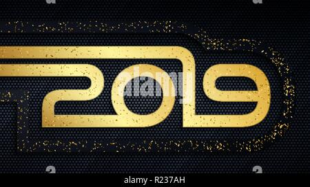 Happy New Year 2019 holiday metal banner. Abstract black and gold brushed metallic numbers with grunge golden dust overlay texture - Stock Photo