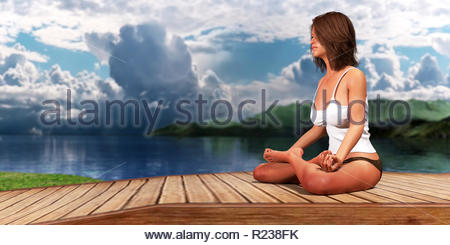 3D render 3D render Woman doing yoga and meditation on a desert island - Stock Photo