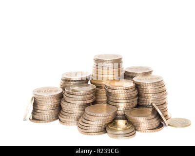 turkishish coins lined up in a row on white background - Stock Photo