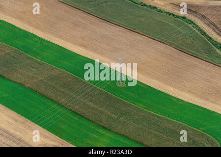 Aerial View Of Power Lines Over Farm, Pennsylvania, USA - Stock Photo