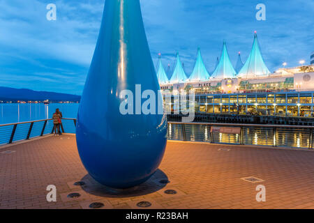 Vancouver, Canada - September 2015: Sculpture titled 'The Drop' Vancouver Convention Center West, Vancouver, British Columbia, Canada - Stock Photo