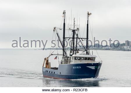 New Bedford, Massachusetts, USA - September 15, 2018: Commercial fishing vessel Blue Delta returning to New Bedford - Stock Photo