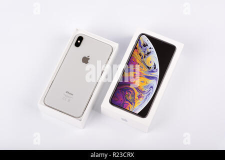 BURGAS, BULGARIA - NOVEMBER 8, 2018: Apple iPhone Xs Max Silver on white background, back view. - Stock Photo