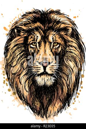 Portrait of a lion head from a splash of watercolor - Stock Photo