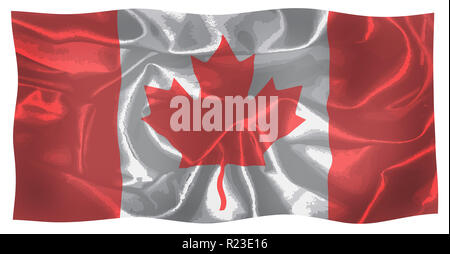 The canadian flag fluttering in the wind over a white background - Stock Photo