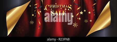 Luxury Christmas sale banner page curl design ready to use for poster, web banner, advertisement with special discount in gold on red satin background - Stock Photo