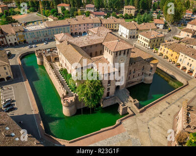 Aerial view of Fontanellato castle rocca, renaissance residential fortification in the middle of the town surrounded by moat - Stock Photo