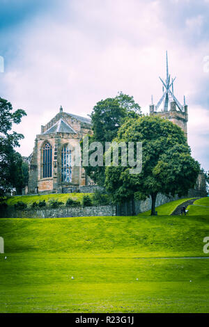 St. Michael's Church and Linlithgow Palace from the Peel - Stock Photo