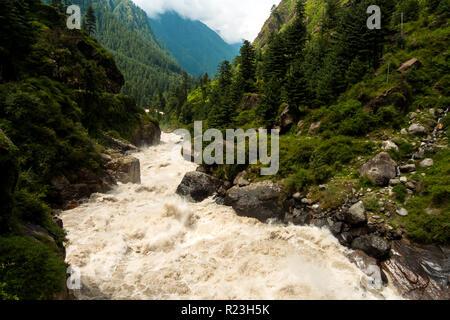 India, Himachal Pradesh, Kasol, 08/15/2010: Parvati river from a bridge in the village of Kasol - Stock Photo