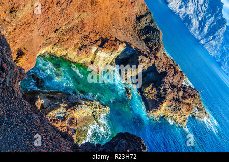 Rocks on North-west coast of Tenerife near Punto Teno Lighthouse, Canarian Islands - Stock Photo