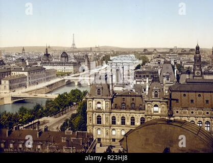Panorama of the seven bridges, Paris, France - Stock Photo