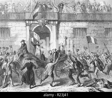 The release of political prisoners from the Castlemare, Palermo, on June 19th. From a sketch by artist Frank Vizetelly. 1860 - Stock Photo