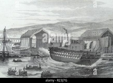Illustration depicting a French ship being launched from a dock, France. Dated 1873 - Stock Photo