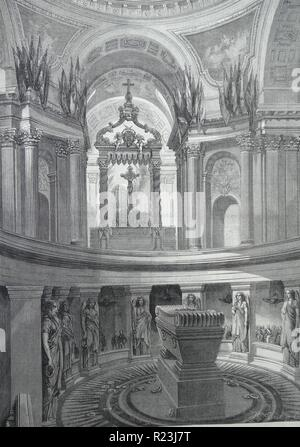 Illustration depicting the tomb of Napoleon Bonaparte (1769-1821) within the Invalides, France. Dated 1822 - Stock Photo